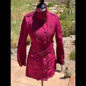 Burberry Brit Fuchsia Trench Coat, Size 6 RARE